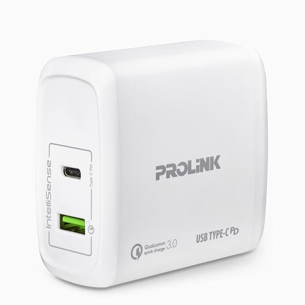 PROLiNK PTC26001 60W 2-Port White USB Wall Charger (Power Delivery)